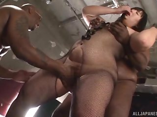 Chubby Asian MILF with glasses Yurino Hana gets duo heavy black cocks