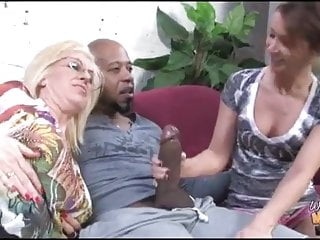 Black creampie for namby-pamby mom and daughter