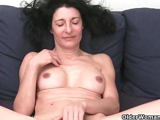 French granny with respect to hairy pussy and round butt masturbates