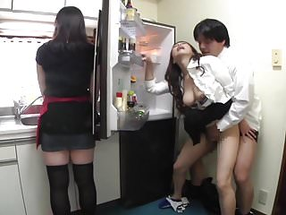 Risky JAV covert sex on touching mother in carry on in kitchen Subtitled