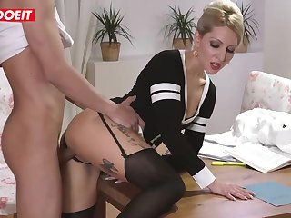 Inked blond step mommy is getting her step son's significant knob unfathomable cavity in her muff