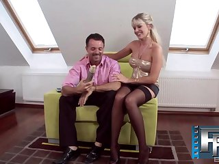 Classy MILF in high heels Nataly D'angelo rides and blows a fat bushwa