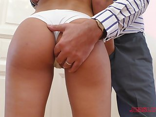 Teen babe with a splendid ass Lara West gives a blowjob plus bends over