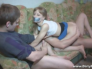 Pallid gal Sonja gets blindfolded and fucked doggy really hard by BF's hang out with