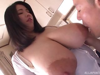 Mediocre Asian far huge tits, insane POV oral