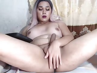 Cute big ladyboy jerks off and toys their way ass