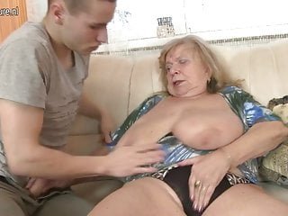 Superannuated busty grandma fucked by young boy