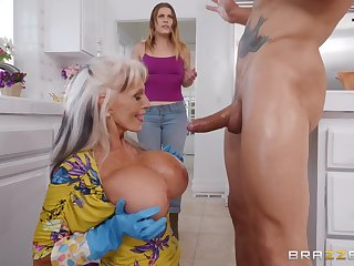 Sally D'angelo gets her cunt fucked by a interesting dude in the kitchen