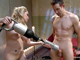 Blonde dominatrix with beamy tits plays with her personal coition toy