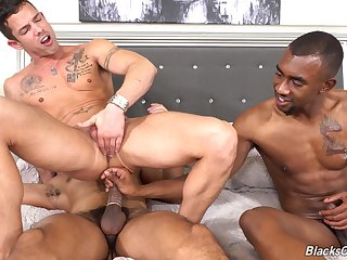 Naughty interracial gay anal triad be required of the muscular man