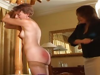Senior woman spanked by lady of the house