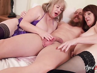 Gorgeous british matures and horny on tap man hardcore threesome party
