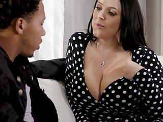 Black stepson can't resist fucking impressive big sallow boobs of Angela Lacklustre