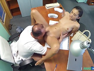 Dirty doctor penetrates his petite patient Shrima Malati on his table
