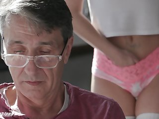 A stepdad has a secret admirer and his cute stepdaughter fucks like incongruous