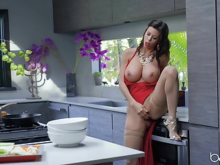 MILF Alexis Fawx surrounding big turn tits masturbates in the kitchen