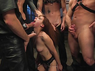 Whorish outwait Audrey Blow-out is bound with rope and gangbanged in on all sides of holes