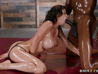 Gorgeous Alexis Fawx is oiled up with a black lover and primed for fun