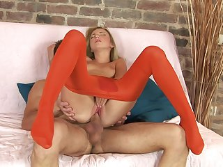 Mind blowing hard carnal knowledge with a skinny doll close by red pantyhose