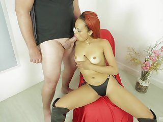 White dude pumps her brown pussy until she begins nearby tremble