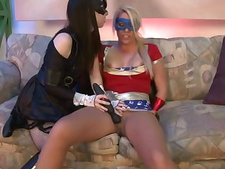 Masked lesbians tale dildo to make love in the matter of hard equally