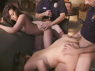 Two cops vs two sexy female suspects in be transferred to hottest manipulate sexual congress scene