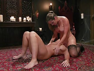 Nude perfection and oral seduction for two married wives