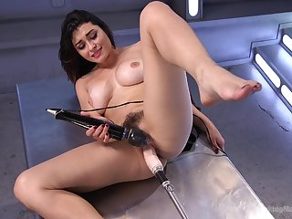 Gorgeous Raven Rocket masturbates with her large sex toys at fault