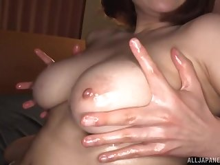 Curvy chick from Japan fucked back doggystyle with an increment of gets cum on tits