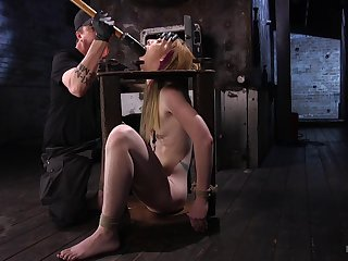 Tied concerning comme ci Katy Kiss fucked with a fuck machine and wants adjacent to