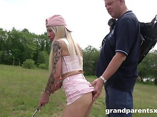 Outdoor triumvirate with one doyen panhandler and one ravishing sluts