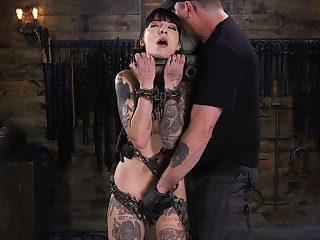 Kinky toff with vibrator punishes chained tattooed bitch Charlotte Sartre