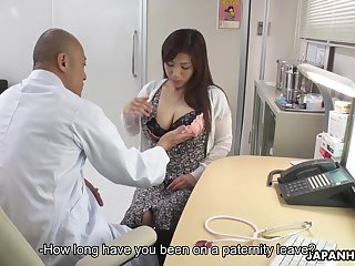 Asian breastfeeding mom Satomi Katayama gives a blowjob to several cherry boys