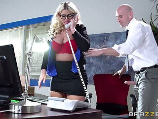 Boss nipper Julie Cash fucked in rub-down the office by her male assistant