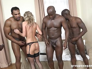 Classy tow-headed Cristal Caitlin in stockings fucked by team a few BBCs