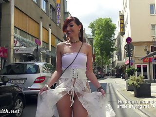 Jeny Smith walks in public in transparent dress wanting in panties