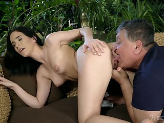 Broad in the beam older guy got lucky and banged natural tits pornstar Nikki Fox