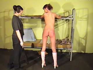Amateur babes stripped and spanked by a medial mistress