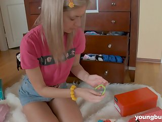Wondrous happy giggling natural chick Yuki has a toy yon fuck herself