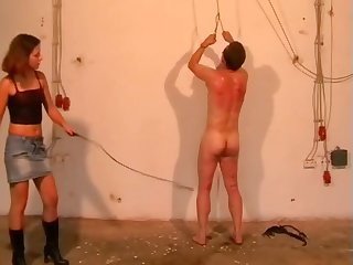 Sadistic young mistress inflaming her slave