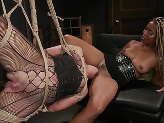 Submissive sickly cougar is fucked by black mistress Lotus Lain