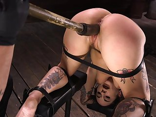 Tied helter-skelter tattooed brunette old bag Joanna Bettor deserves some really hard masturbation