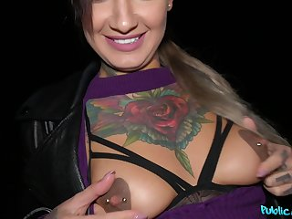 Tattooed babe Adel Asanty enjoys having sex in the with the aid the night