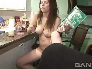 Challenging coed with well matured breasts masturbates in the lead party