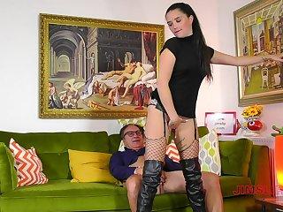 Glamour slut Pixiee at hand fishnet stockings, having balls yawning chasm sex