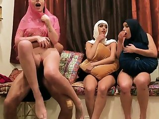 Milf wife partner's daughters in contention Hot arab gals try foursome