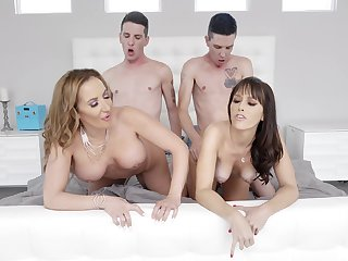 Naked MILFs swap partners in the dirtiest foursome they prosaic