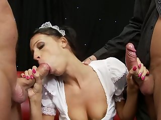 Shoal video with uncomplicated tits wife chiefly her knees having a 3-way