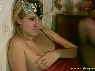 This lady's man is a pantyhose loving freak together with his GF loves sucking dick