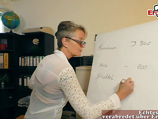 german grown up woman secretary seduced younger guy in office